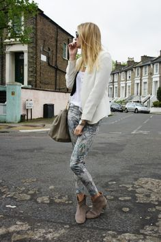 Love these snake skinnies and blazer