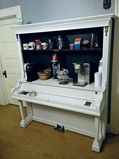 Piano repurposed into a coffee bar.