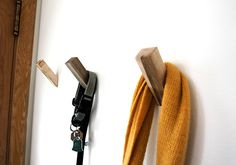 Wooden post hooks, simple and easy enough to make and install.