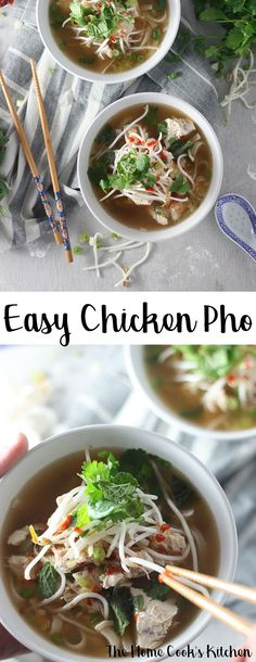 This easy chicken pho recipe really packs a punch with a hint of spice mixed in with some deliciously fresh flavours. A perfect hearty, warming and filling soup. #chickenpho #pho #soup via @homecookskitchn