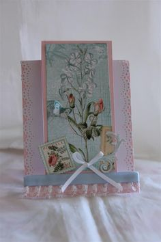 graphic 45 time to flourish june, stepper card, fussy cutting, ribbon and lace