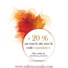 """Milena Moda fête l'automne, bénéficiez d'une réduction de 20% sur tout le site avec le code """"automne"""".  Au récapitulatif de votre commande, il vous suffit de taper """"automne"""" dans l'encart """"Code promo"""" et de cliquer sur """"OK"""" pour bénéficier de la promotion.  À vos clics ;) http://milena-moda.com/  #bonplan #promo #promotion #reduction #shopping #boutique #vêtements #bijoux #accessoires #femme #mode #tendance #milenamoda"""