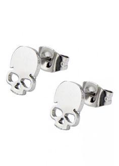 Inox Jewelry Skull Cut Out Stud Earrings Mens Diamond Stud Earrings, Skull Earrings, Skull Jewelry, Gothic Jewelry, Jewelry Shop, Jewlery, Body Jewelry, Black Hills Gold Jewelry, Mens Gold Jewelry