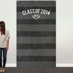 Graduation Party Decorations -- Striped Chalkboard Photo Backdrop | Pear Tree Greetings