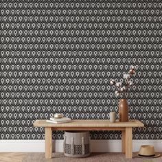 Black and White Pattern Peel and Stick Wallpaper - Smooth Wall Decal / 1 roll: 24W x 120H
