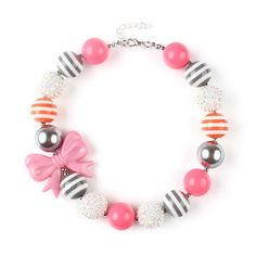 2Pcs Sweety Pink Bow Chunky Necklace Kids Bubblegum Beaded Necklace for Baby Girl Toddler Jewelry