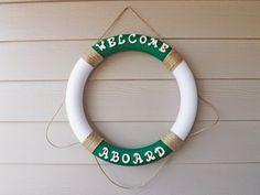 Nautical Yarn Wreath Green and White