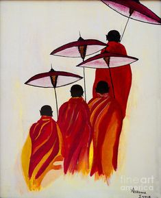 Buddha Monks Painting - Buddha Monks by Rekha Artz