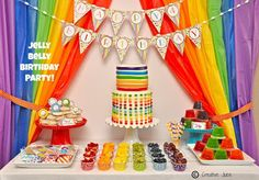 Rainbow Theme-Today we're sharing a fun twist on a rainbow party - a Rainbow Jelly Bean party created by Mindy at Creative Juice, inspired by the jelly belly factory close to their home! Rainbow Unicorn Party, Rainbow Birthday Party, Rainbow Theme, Rainbow Party Favors, Rainbow Party Decorations, Rainbow Colors, 40th Birthday Party Themes, First Birthday Parties, First Birthdays