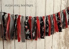 Pirate rag tie garland for birthday party Pirate Decor, Pirate Theme, Pirate Crafts, Pirate Birthday, 3rd Birthday Parties, Birthday Ideas, Theme Mickey, Pirate Bedroom, Pirate Fairy