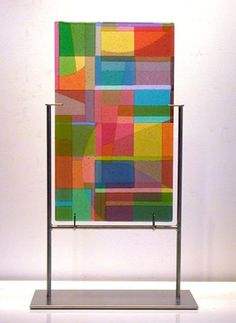 "dorothy hafner ""Raspberry Patch"" Item #70321 Fused glass/stainless steel 21""h x 14""w x 6""d $7,500"