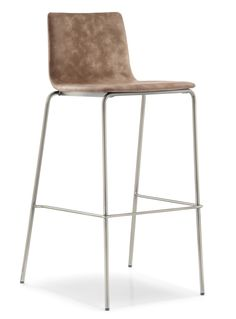 Inga 5687 - -Stackable barstool featured by soft and essential shapes. The shell can be upholstered in fabric or simil leather, steel tube legs Ø16mm. Height 750mm.