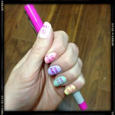 Easy Valentines sweetheart candy nails -- pastel colors+matte topcoat+hot pink skinny sharpie! (Valentines manicure )