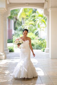 Perfect destination dress: romantic and bridal, just skimming the sand length! | Bahamas Wedding At Sandals Emerald Bay | Heather Cook Elliott Photography