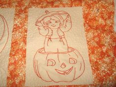 Hand Embroidery Halloween Quilt