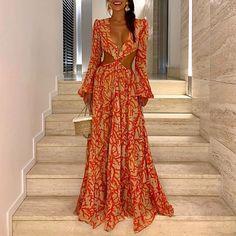 Sexy Deep V Lantern Sleeve Print Dress – Majorgous Estilo Glamour, Maxi Dress Wedding, Bikini, Sexy Dresses, Long Dresses, Formal Dresses, Lady, Lantern, Deep
