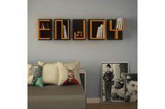 Ραφιέρα τοίχου ENJOY σε χρώμα κίτρινο-ανθρακί 138x20x39 Floating Shelves, Magazine Rack, Cabinet, Storage, Design, Furniture, Home Decor, Home Decoration, Clothes Stand
