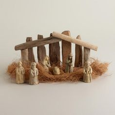 Beautifully handcrafted, our exclusive Small Driftwood Nativity Scene comes from the Philippines. Nativity Stable, Nativity Creche, Christmas Nativity Scene, Nativity Sets, All Things Christmas, Christmas Holidays, Christmas Crafts, Beach Christmas, Little Girls