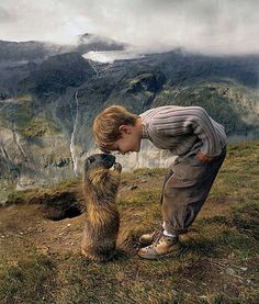 Groundhog meets child at Grossglockner Mountain Austria