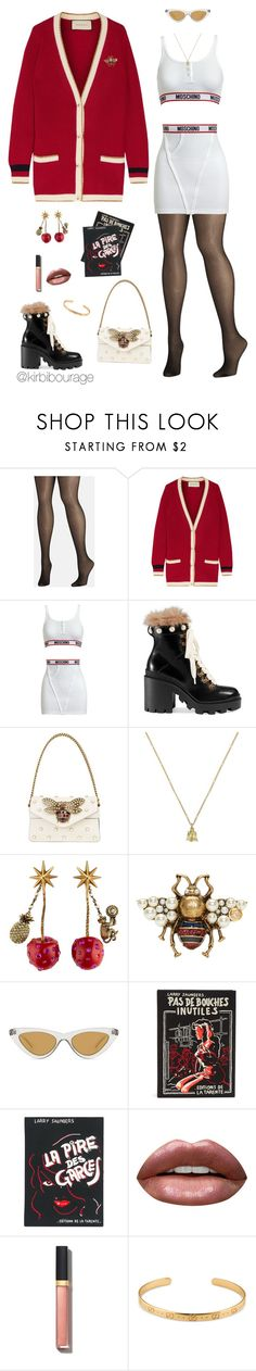 """cozy n my gucci cardigan"" by kirbibourage ❤ liked on Polyvore featuring Avenue, Gucci, Moschino, Le Specs, Olympia Le-Tan, Huda Beauty and Chanel"