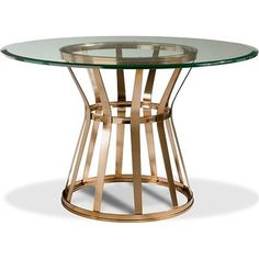 """Drexel Voussoir Pedestal Dining Table BaseSKU: 590-690 • 29 3/8""""h x 21 3/4""""w • 74cm h x 55cm w • Standard Finish: Horizon • Metal pedestal  • Top Dimension: 48""""Dia (122 cm) or 54""""Dia (137 cm), 5/8"""" thick with beveled edge  • Base Dimension: 21 3/4""""Dia x 29 3/8""""h (55 x 75 cm)  • Note: Must order either the 234-003 48""""Dia Glass Top"""