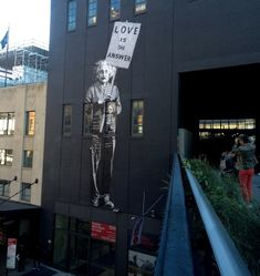 Love is the answer - Einstein High Line NYC street art that got painted over :(