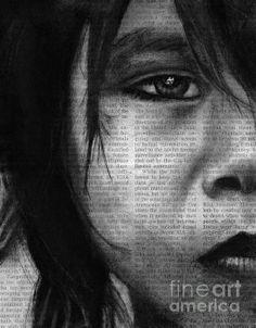 Art in the News 30, charcoal on newspaper, michael cross art