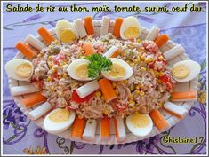 Rice salad with tuna, corn, tomato, surimi, hard-boiled egg Healthy Tuna Recipes, Tuna Steak Recipes, Brunch Bar, Nicoise Salad, Deviled Eggs Recipe, How To Cook Quinoa, Boiled Eggs, Hard Boiled, Snacks