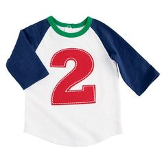 Finally an adorable birthday shirt for a boy! This cotton slub raglan style t-shirt with back snap placket features contrasting cotton rib neckline and large to