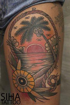 Tropical Sunset Tradi Tattoo by Hugo at Siha Tattoo