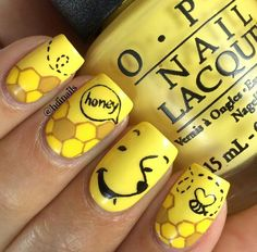 Winnie the Pooh bear nail art, bees, Disney nails