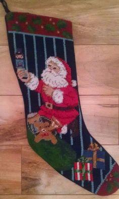 Jabara Christmas Stocking Wool Needlepoint Santa Bag of Toys Gifts Bear Blue