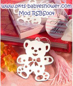 Recuerdos para Baby Shower - Separadores Osito Rosa - Disponible en www.pkts-babyshower.com