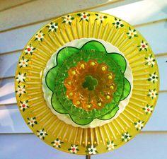 Garden Decor Glass Plate Flower