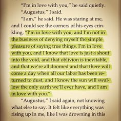 My favourite quote. I am completely and unsurpassably in love with Augustus Waters.
