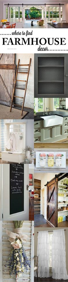 Where to buy farmhouse decor- farmhouse sinks, sliding farmhouse doors, farmhouse ladder shelf with wire baskets, jelly cabinets and more.