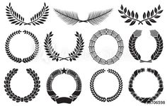Wreath set (wreath collection, laurel wreath, oak wreath, wreath of wheat, palm wreath and olive wreath) - Stock Illustration: 17974937 Above Elbow Tattoo, Elbow Tattoos, Mini Tattoos, Body Art Tattoos, Sleeve Tattoos, Olive Tattoo, Olive Branch Tattoo, Future Tattoos, Tattoos For Guys