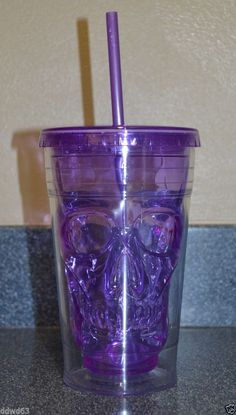 Cool Gear Purple Skull 18 oz Chiller Tumbler Insulated Cup Halloween Goth 2C #COOLGEAR