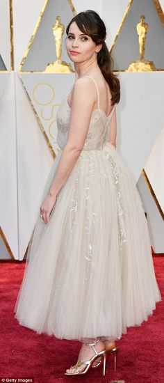 Blushing beauty: British actress Felicity Jones, of the Star Wars movie Rogue One, chose a...