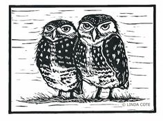 Little Burrowing Owls Linocut Relief Print, Hand Pulled Fine Art, Limited Edition, Printmaking Original