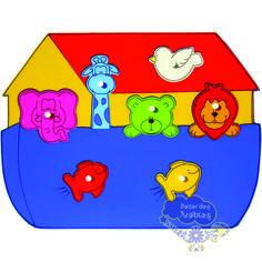 Quebra Cabeça Grande Arca de Noé, Quebra Cabeça de Pinos de Madeira, Quebra Cabeça Pipoquinha, Brinquedos Pipoquinha, brinquedos educativos, brinquedos