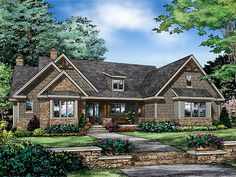 Craftsman Home Plan with 2115 Square Feet and 3 Bedrooms from Dream Home Source | House Plan Code DHSW077723