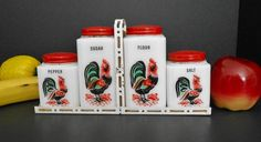 Vintage Ceramic Rooster Spice Shakers by WidhalmsCollectibles,  SOLD