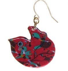 4160-1 - Red Floral Bird Earring originjewelry.net