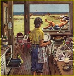 Chic Doing Dishes at the Beach by Stevan Dohanos Painting Print on Wrapped Canvas by Marmont Hill Wall Art Decor from top store Painting Prints, Art Prints, Art Vintage, Canvas Art, Canvas Prints, Arte Pop, Norman Rockwell, Online Art Gallery, Wrapped Canvas