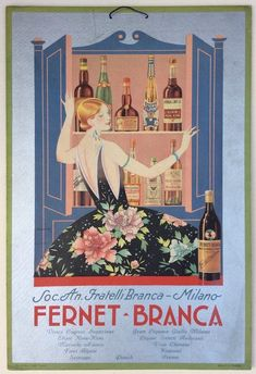 Fernet Branca, Milano Art Deco Posters, Cool Posters, Vintage Italian Posters, Poster Vintage, Restaurant Poster, Cork, Old Advertisements, Old Ads, Advertising Poster