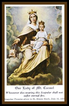 Holy Cards For Your Inspiration: Our Lady of Mount Carmel......July 16