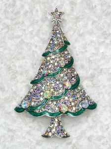 Gorgeous Clear AB Rhinestone Crystal Stars Christmas Tree Pin Brooch