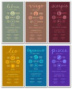 Astrological Sun Sign Posters! #poster #print #illustration #sign #sun #signs #horoscope #astrology #zodiac #constellation #outer #space #stars #wall #art #decor #design #typography #paper #goods #stationary #infographic #aries #taurus #gemini #cancer #leo #virgo #libra #scorpio #sagittarius #capricorn #aquarius #pisces