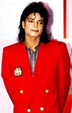 Michael Jackson wearing a really red jacket